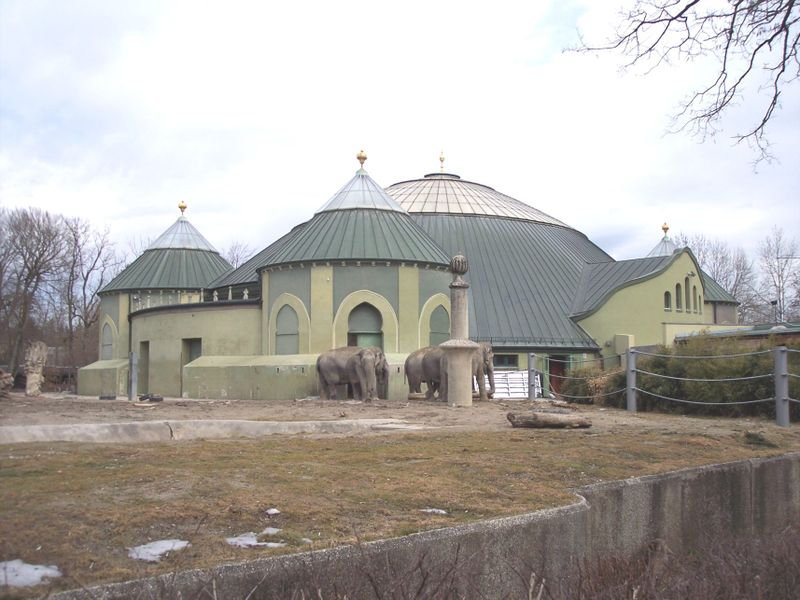 A landmark of Hellabrunn Zoo: The old elephant house was built in 1914